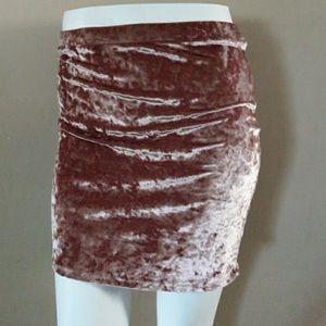 Crushed mini velvet skirt